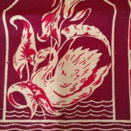 Vintage Linen Hand Towel Swan Lily Unused Tag 1930 1940 Maroon White