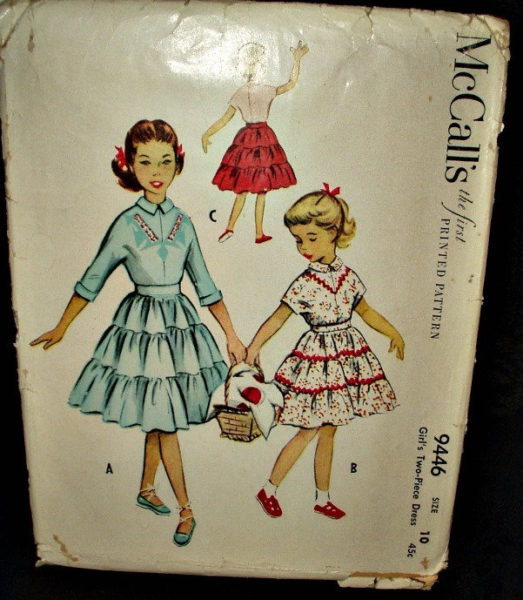 Vintage 1950 McCalls Sewing Girl Skirt Dress Pattern Very Nice