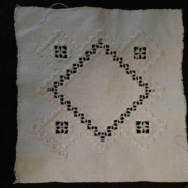 Vintage Hardanger Embroidery Needlework Square Unfinished Edge