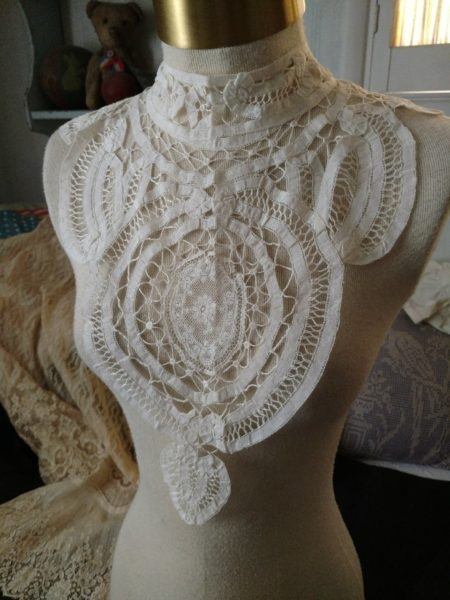 Antique Mixed Tape Lace Battenburg Collar Victorian 2 Pc High Neck Dress Front