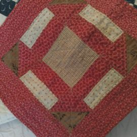 Victorian Antique Doll Quilt Calico Fabrics Brown Pink Red Treadle Sewn