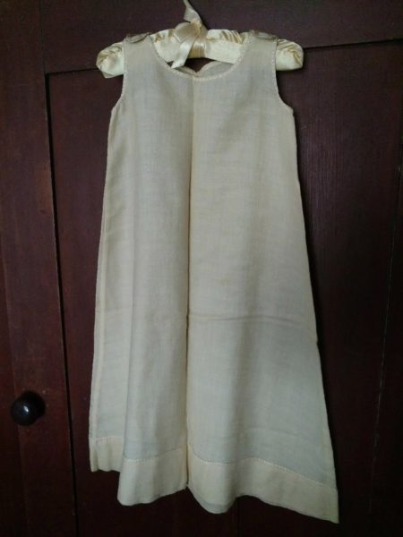 Cream Silk Wool Long Baby Slip Vintage 1920s Petticoat Embroidery