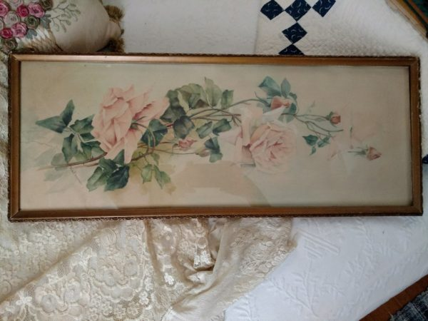 Antique Yardlong Print Pink Roses Water Color Anna Zimmerman Original Frame