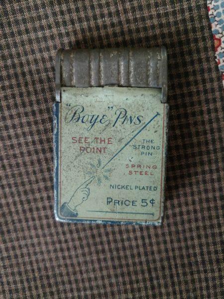 Antique Tin Advertising Boye Pin Box Sewing Tool Notion 1900s