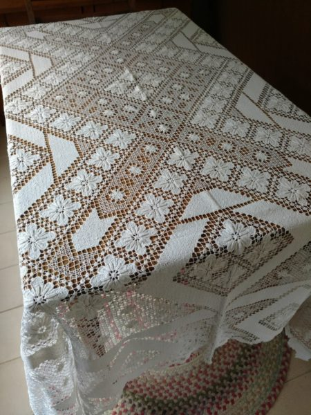 Vintage 1920s Darn Net Tablecloth Knotted Filet Lacis Art Deco White Cotton