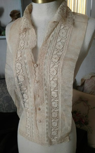 1920s Lace Dress Front Vintage Dickey 1930s Tulle Ivory Cotton