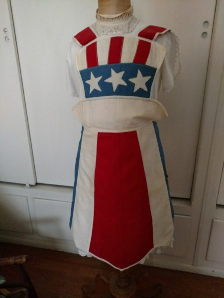 Patriotic Americana Apron Stars Stripes Red White Blue 1940s 1950s