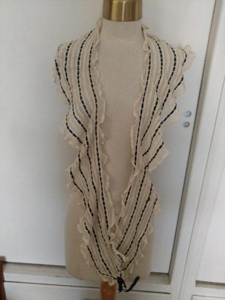 Antique Edwardian Lace Ruffle Collar Sash Black Ribbon Embellishment