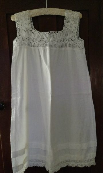 Vintage Night Gown Slip Crochet Yoke Seersucker Fabric 1920s Home Sewn