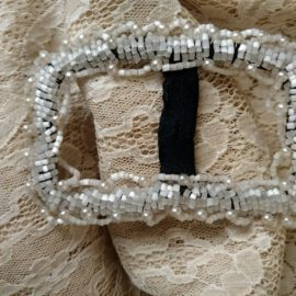 Antique Victorian Beaded Dress Buckle Slide White Beads Pearls Hand Made Black Faille Edwardian