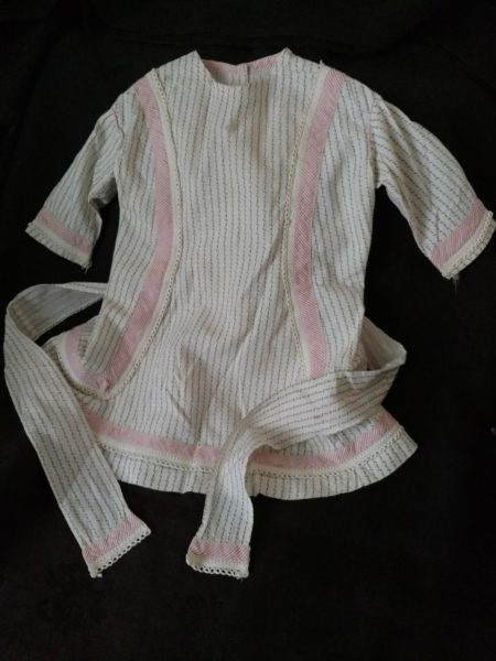 Victorian Baby Child Dress Black White Calico Red Stripe Trim 1880s
