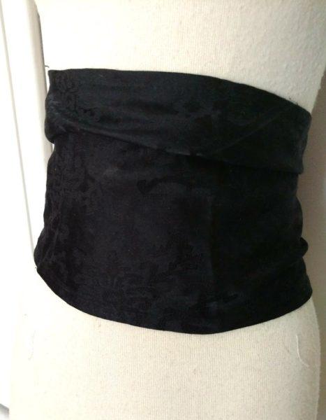 Black Silk Sash Belt Victorian Edwardian Damask Cumberbund Rosette Buttons