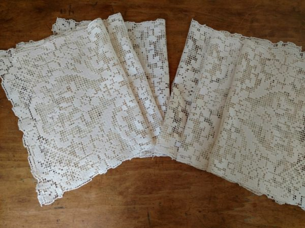 6 Art Deco Darn Net Table Placemats Knotted Filet Lacis Vintage 1930s Lace
