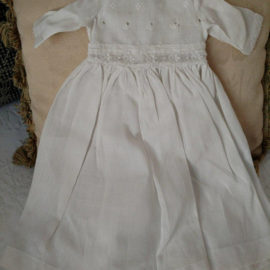 Vintage White Eyelet Bodice Doll Dress Embroidery Whitework Trim Nicely Made
