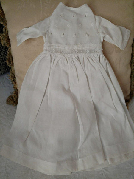 Vintage White Eyelet Bodice Doll Dress Embroidery Whitework Trim Nicely Made