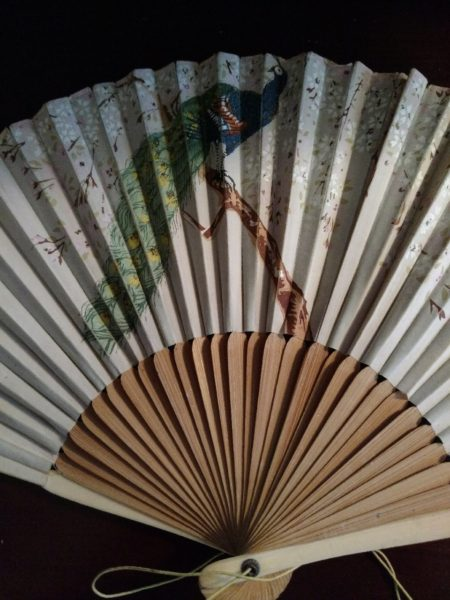 Vintage Edwardian 1920s Folding Fan Peacock Flowers Bone Sandalwood