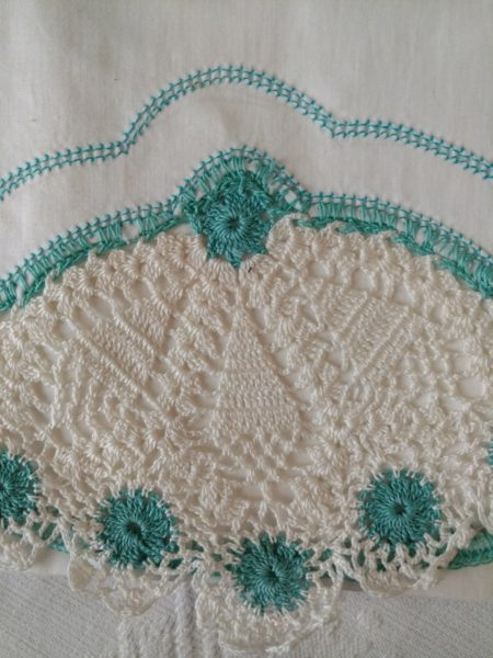 Vintage 1950s Bolster Pillowcase Irish Crochet Aqua White Mid Century Pillow Case