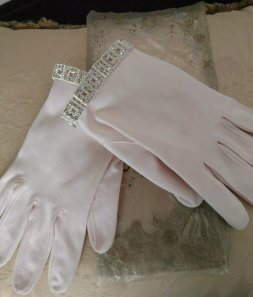 Vintage Crescendoe Gloves Pink Wonder Fabric Wrist Rhinestone Cuff 1950s Fashion