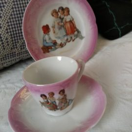 3 Piece 1900s Edwardian Pink Luster ware Plate Cup Saucer Children Antique Set