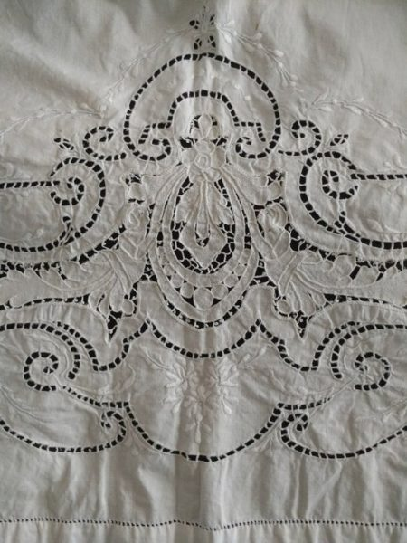 Antique Fancy Bed Sheet Appenzell Cutwork Embroidery Darn Net Lace Victorian Edwardian