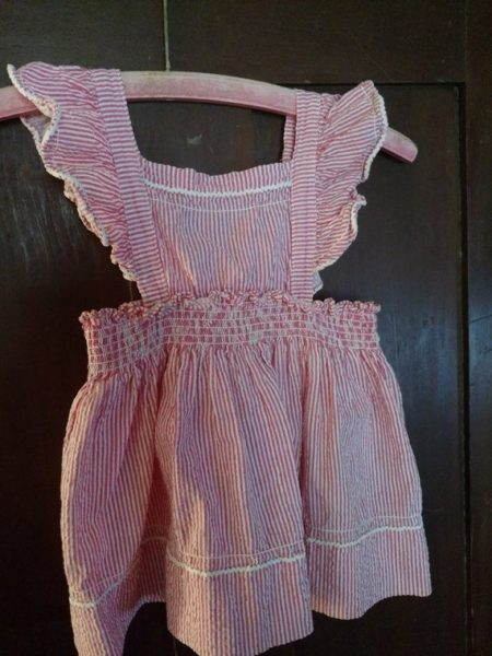 Seersucker Toddler Girl Sundress Vintage 1940s Pinafore Stripe Ruffle Shoulder