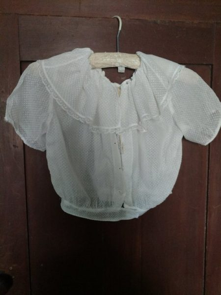 Edwardian Child Dotted Swiss Blouse Vintage Bodice Wide Collar