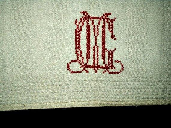 Monogrammed C M Redwork Embroidery 1900 Homespun Kitchen Towel