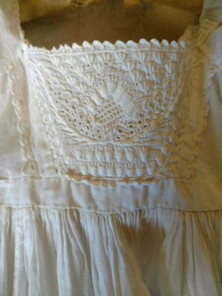 Antique 1840s Ayrshire Christening Gown Dress Needlelace Inserts Some Flaws