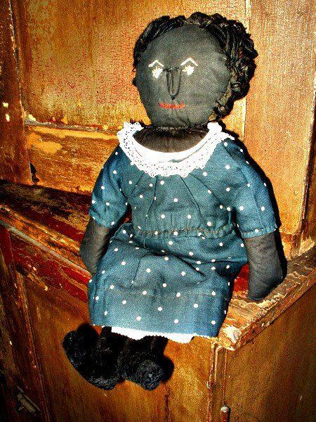 Antique Primitive 1920's Handmade Black Cloth Rag Doll Indigo Blue Dress