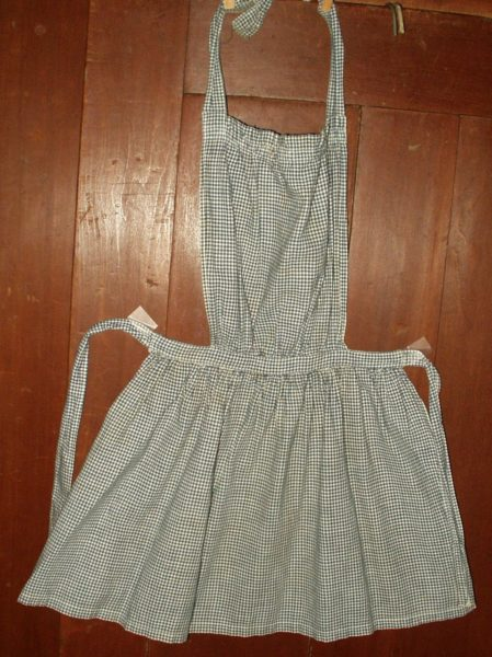 Early 1900 Child's Apron Blue Homespun Bib Style Country Primitive