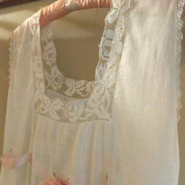 Edwardian 1920s Nightgown White Batiste Fabric Lace Neck Line Ribbon Drawstring