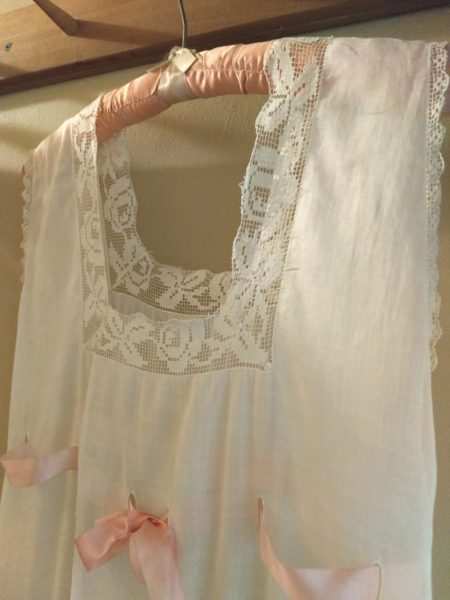 Edwardian 1920s Nightgown White Batiste Fabric Lace Neck Line Ribbon Drawstring