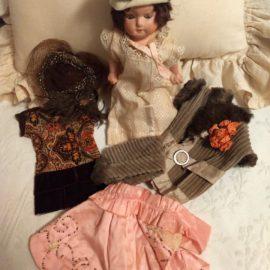 Vintage 1920s 2 Doll Dresses Coat Cape 3 Hats Compo Doll Lot