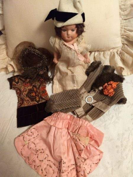 Vintage 1920s 2 Doll Dresses Coat Cape 3 Hats Compo Doll Lot