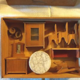 French 1920s Doll House Wood Furniture Miniature Dining Set Original Box