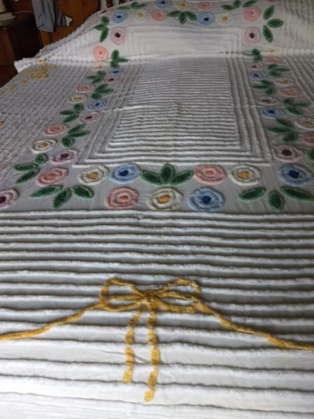 Vintage Chenille Full Bedspread White Pastel Floral 1950s Romantic Cottage