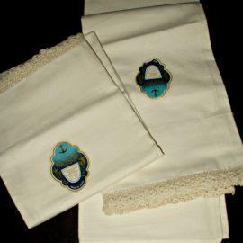 Pair Vintage 1920 1930 Hand Crochet Edge Pillowcases Unused With Label