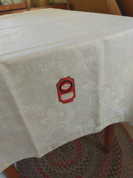 White Damask Tablecloth Vintage 1930s Unused Label Wreath Motif