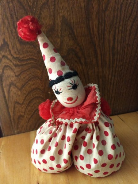 Vintage Sock Bean Bag Cloth Clown Doll 1940s Embroidery Face Toy
