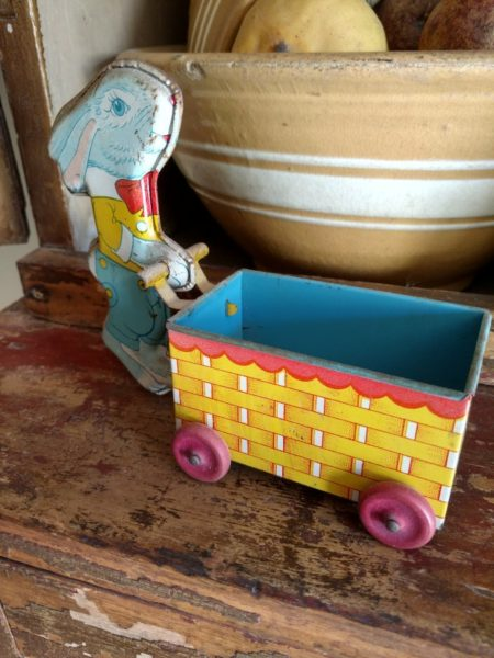 Vintage 1940s 1950s Chein Easter Bunny Push Cart Tin Lithograph Toy