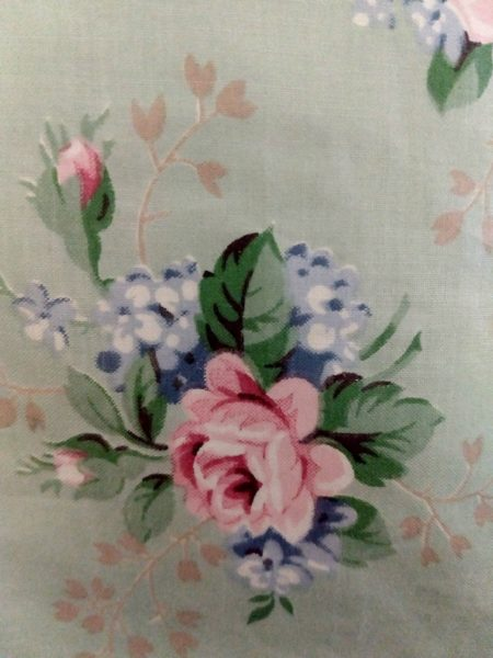 Mint Everglaze Chintz Fabric Remnant Rose Flowers Sewing Crafts 1940