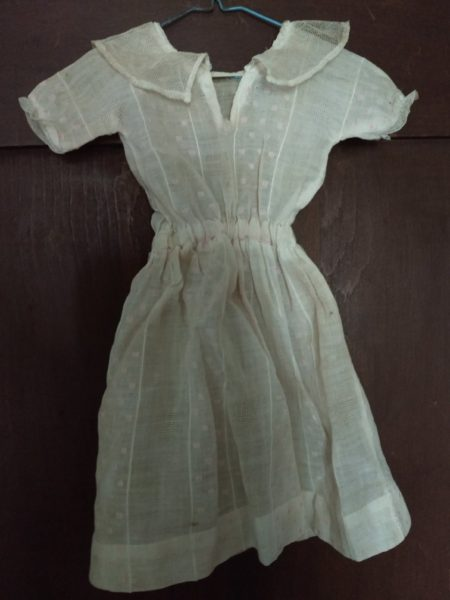 Antique Doll Dress Edwardian 1920s Dotted Swiss Lace Collar