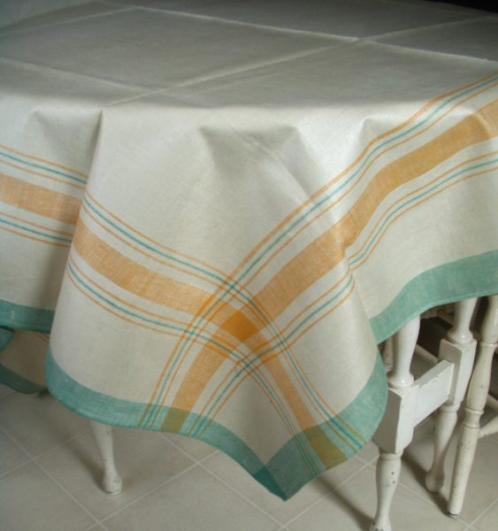 "Tablecloth Linen Vintage Green Gold Cream Czech Unused Plaid 56"" x 78"""