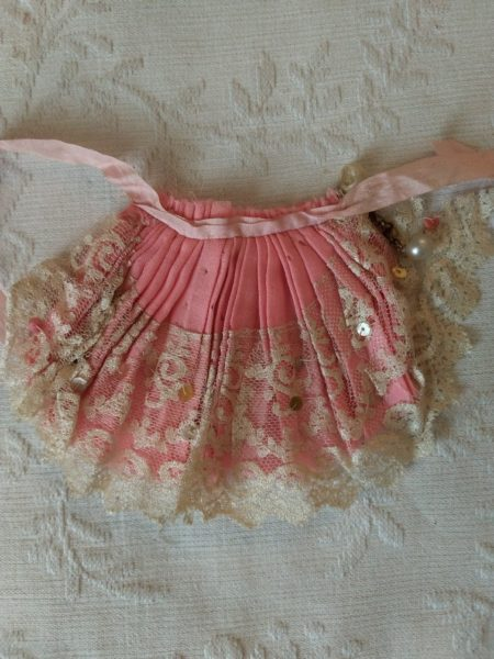 Vintage Fancy Doll Apron Pink Lace Trim Ribbon Ties 1920