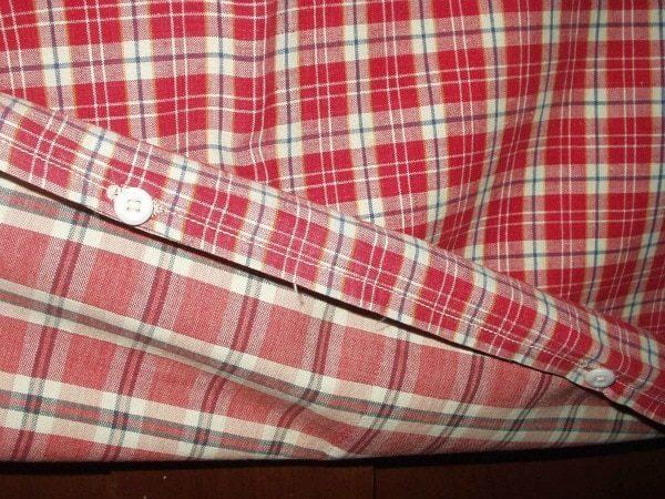1800 Americana Primitive Homespun Pillowcase Sham Red Plaid Fabric