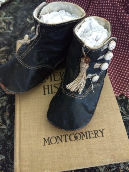 Vintage Baby Shoes Black High Top Leather White Buttons Early 1900s