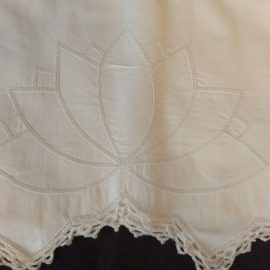 Hemstitched Lily Pad Pillowcases White Cotton Crochet Trim 1950s