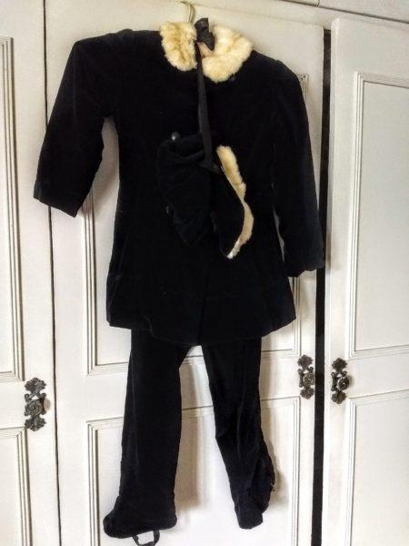 1940 Vintage Girl Snow Suit Black Velvet Jacket Leggings Bonnet Rabbit Trim