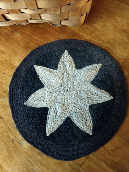 Vintage Star Hooked Rug Table Mat Blue White 1920 1930 Primitive