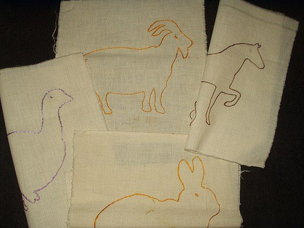 4 Vintage 1930 1940 Embroidery Barnyard Animal Muslin Quilt Blocks